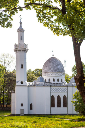 KAUNAS, LITHUANIA - MAY 10, 2016: Vytautas the Great Mosque built in 1930 in commemoration of the 500th death anniversary of Vytautas the Great, who is credited for settling Lipka Tatars in Lithuania Editorial