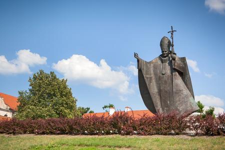 kaunas: KAUNAS, LITHUANIA - June 25, 2016: Pope John Paul II monument in Kaunas, erected in June 04, 2011 on the hill visited by the Pope in 1993. The author of the monument is Czeslaw Dzwigaj