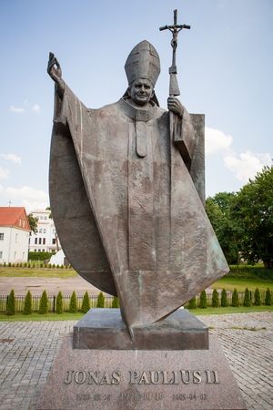 KAUNAS, LITHUANIA - June 25, 2016: Pope John Paul II monument in Kaunas, erected in June 04, 2011 on the hill visited by the Pope in 1993. The author of the monument is Czeslaw Dzwigaj