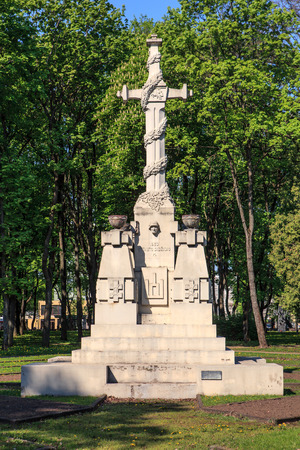 kaunas: KAUNAS, LITHUANIA - MAY 10, 2016: Dead for the fatherland the monument in Ramybes park, Kaunas erected in  27.11.1930 in place of graves of unknown soldiers, author Stasys Stanisauskas Editorial