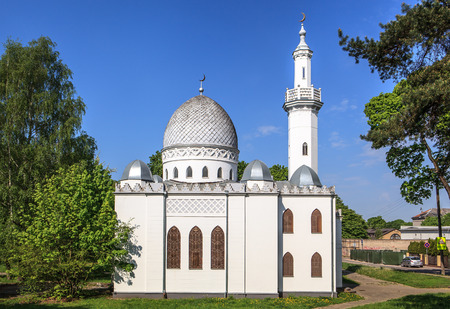 settling: KAUNAS, LITHUANIA - MAY 10, 2016: Vytautas the Great Mosque built in 1930 in commemoration of the 500th death anniversary of Vytautas the Great, who is credited for settling Lipka Tatars in Lithuania Editorial