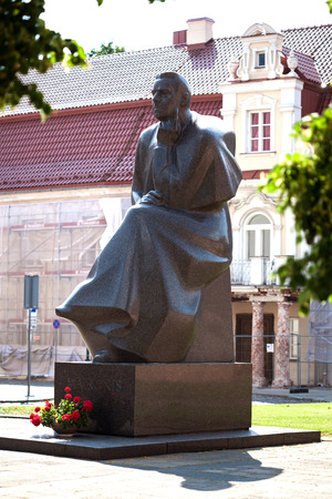 kaunas: KAUNAS, LITHUANIA - June 25, 2016: Monument for one of the most famous Lithuanian poets and active members of the Lithuanian National Revival Maironis in Kaunas.