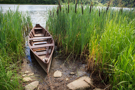 rusty chain: Rowing boat on rusty chain in grass on river board Stock Photo