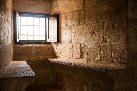 crusaders: Window and two seats in medieval crusaders castle