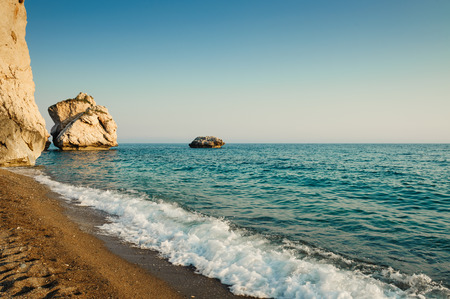 tou: Rocks and the sea (Petra tou Romiu, Cyprus) Stock Photo