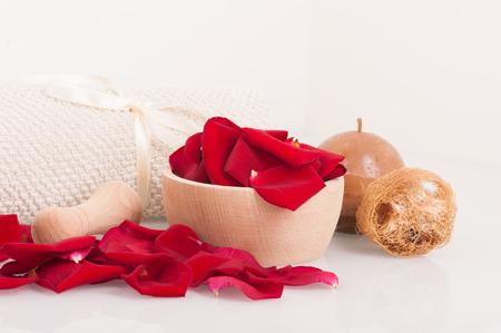 white towel: Rose petals, mortar, towel ,sponge and candle, spa theme