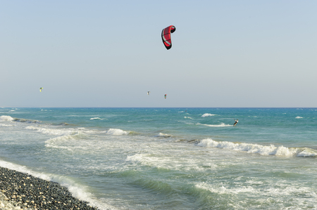 Sea and kites, Kourion beach, Cyprus