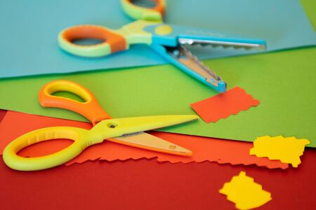 Preschool craft materials and tools Stock Photo