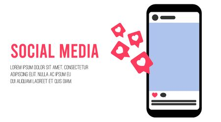 Social media concept with feed, like and comment. Influencer social media marketing concept. Template  mockup with copy space for text or picture. Vector flat stock illustration.