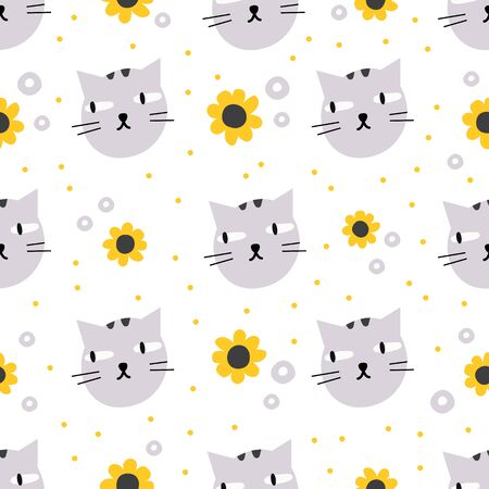Cute cartoon cat head seamless pattern with flowers and doodle elements. Hand drawn animal character isolated on white. Kids pattern. Vector illustration in minimal trendy style. For wrapping, textile