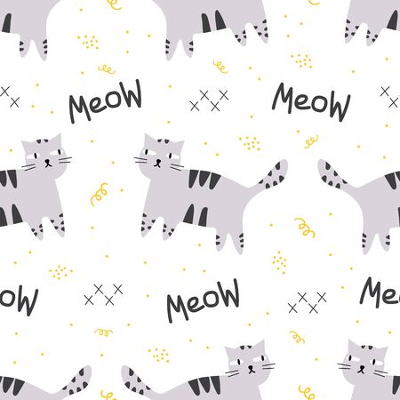 Seamless pattern with cartoon cat with meow word and doodle elements. Stars, swirls, dots. Hand drawn animal character. Isolated pattern with kitten in minimal trendy style. Stock vector illustration. Illustration