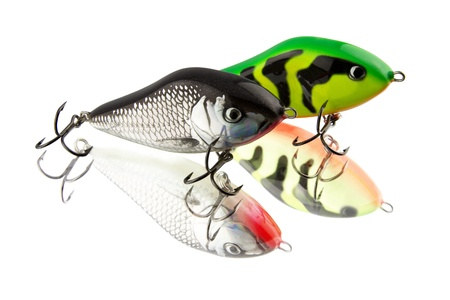 Two baits on white background photo