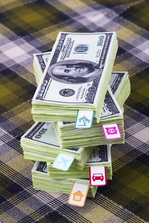 A bundle of money with bookmarks photo