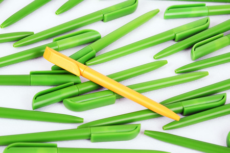 chaotically: Plastic ink pens located chaotically Stock Photo