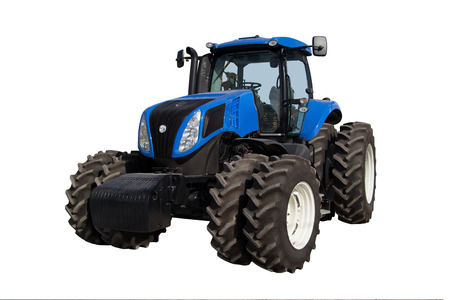 technologically: Blue tractor with big wheels isolated on white background