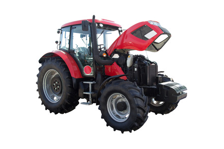 technologically: Red Tractor on large wheels with the hood open on a white background