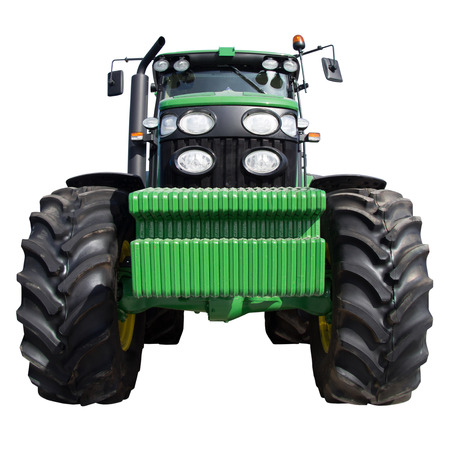 technologically: Agricultural machinery, tractor with big wheels, modern farming techniques, square image, tractor isolated on white background,tractor, green tractor, farm machinery. Stock Photo