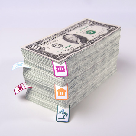money packs: Saving money, financial planning, a dream come true, planning costs, packs of dollars, money stacked in bundles, family economics, DSLR photography dollars, accumulating money, square image. Stock Photo