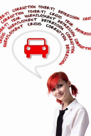vastness: Red-haired girl, the financial crisis, buying a car, dreaming of your own car, piercings on his face, blue eyes, earrings tunnels, vertical photo, tie and white shirt, photo in bright colors.