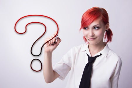 anime eyes: Red-haired girl, style of anime, question mark, piercings on his face, blue eyes, earrings tunnels, he wrote marker, tie and white shirt, black manicure, student doing homework.