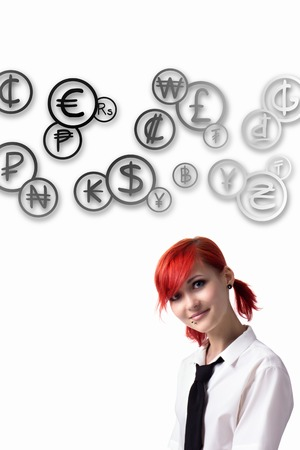 he is different: Red-haired girl, Cloud coins, coins of different countries, the world economy, should budget, piercings on his face, blue eyes, earrings tunnels, he wrote marker, tie and white shirt.