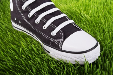 grassplot: Sneakers on the green grass, youth shoes, field of green grass, shoes for young people, one black and white sneakers, walking in black gym shoes on a green grass, shoes closeup Stock Photo