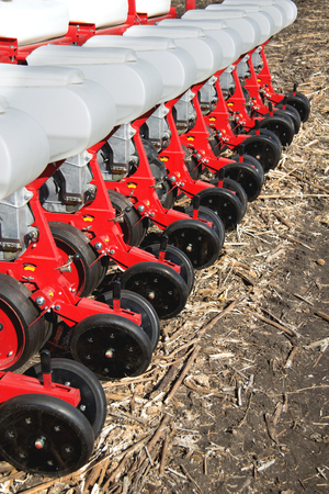 technologically: Farming machinery, seeder grain, fertile land, the agricultural industry, the steel frame, drill close-up, equipment for cultivation. Stock Photo