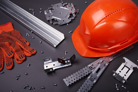 mounting holes: Construction helmet, profile for plasterboard, fixing plasterboard, set of building profiles, building materials, steel profiles for repair, construction works, screws for construction