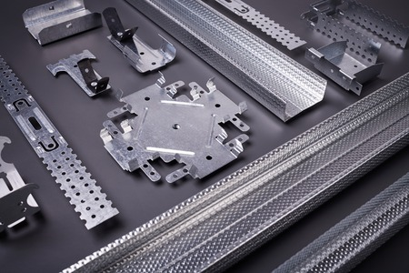mounting holes: Profile for plasterboard, plasterboard fastening, set of building profiles, building materials, steel profiles for repair, construction works, modern building materials