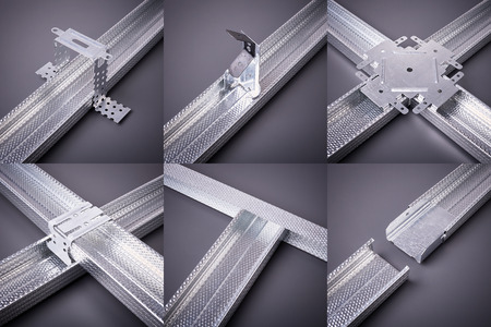 mounting holes: The fastenings for plasterboard, profile for plasterboard, plasterboard fastening, set of building profiles, building materials, steel profiles for repair, construction works Stock Photo