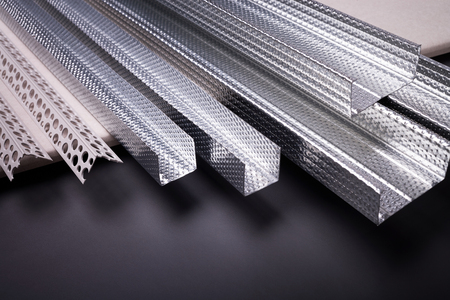 mounting holes: Profile for plasterboard, gypsum board, plasterboard fastening, set of building profiles, building materials, steel profiles for repair, construction works, modern building materials