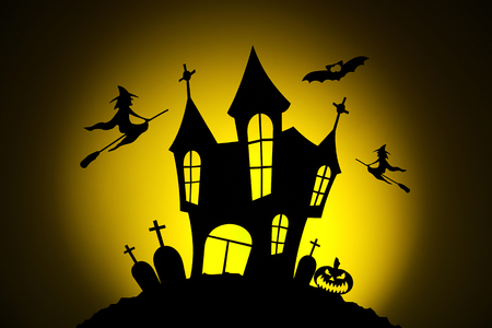 Celebrating halloween, pumpkins for Halloween, silhouetted against the moon, silhouette of a witch on a broomstick, bat silhouette, silhouette of the cemetery, silhouette of the castle