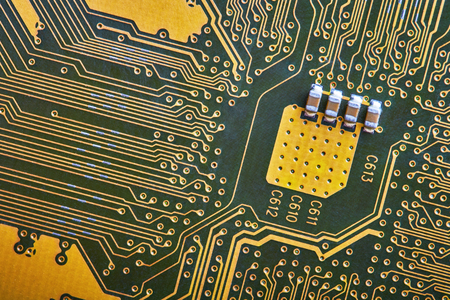 electronic elements: Electronic components, computer card close-up, digital technology, electric charge, elements of the personal computer Stock Photo