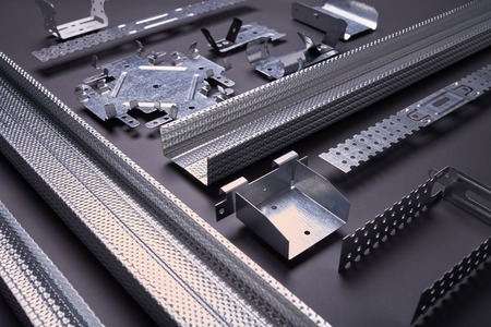 mounting holes: Profile for plasterboard, set of building profiles, steel profiles for repair, construction works Stock Photo