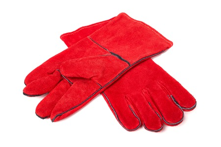 protective clothing: Gloves for welding, welding equipment, gloves, isolated on white background, protective clothing, perform welding work Stock Photo