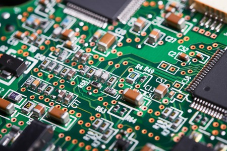 electronic elements: Electronic components, computer card close-up, digital technology, electric charge, processor on the circuit board, elements of the personal computer Stock Photo