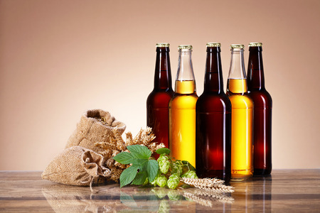 Assortment of fresh beer in bottles, ears of wheat, ripe fruit hops, brewing ingredients, glass bottle with a drink, a wooden table, bag of ripe grain Stock Photo