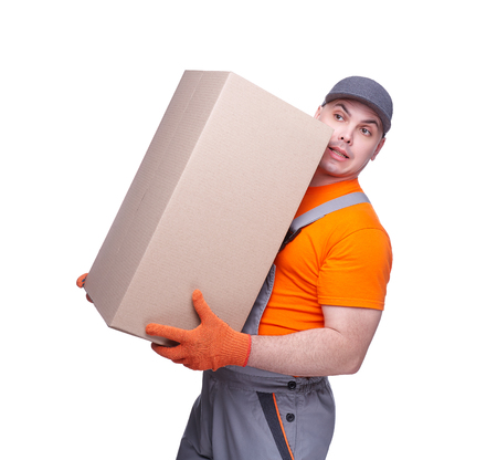 Loader in workwear, profession of the service industry, cardboard box, parcel delivery, young sports man, cargo transportation, courier in working clothes, worker isolated on white background