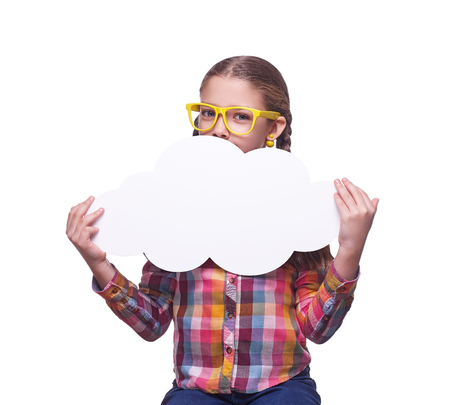 Teenage girl with a poster for text, children's emotions, girl with glasses, home clothes, portrait of a young girl, isolated on white background Standard-Bild - 118435550