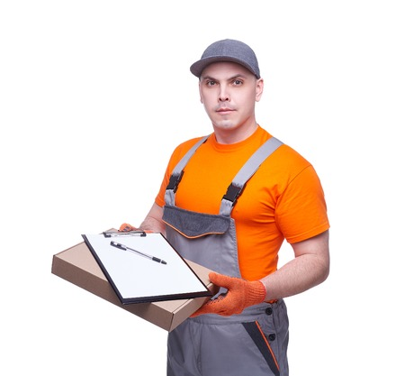 Loader in workwear, cardboard box, parcel delivery, profession of the service industry, paper tablet, cargo transportation, courier in working clothes, worker isolated on white background Stock fotó