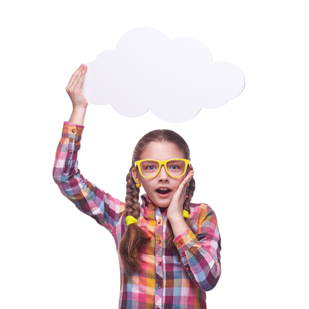 Teenage girl with a poster for text, childrens emotions, girl with glasses, home clothes, portrait of a young girl, isolated on white background