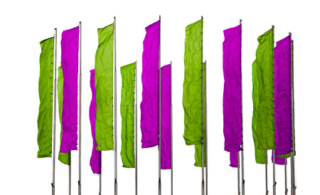 flagpoles: Several flagpoles with vertical green and purple flags