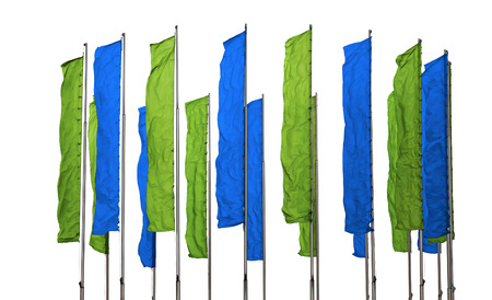 flagpoles: Several flagpoles with vertical green and blue flags