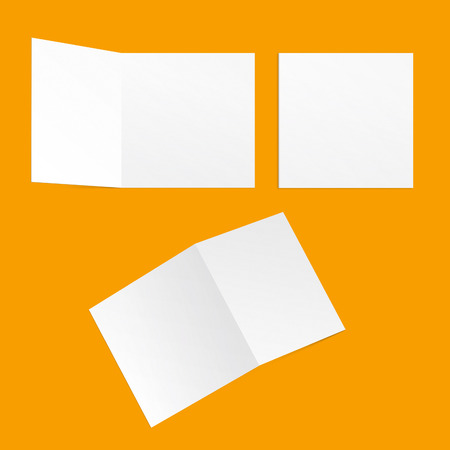 template square postcards on a yellow background back and front