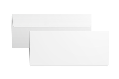 Envelope on white background. Back and front. Clipping path.