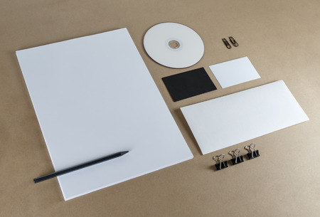 stationery set: Blank stationery set on a table.