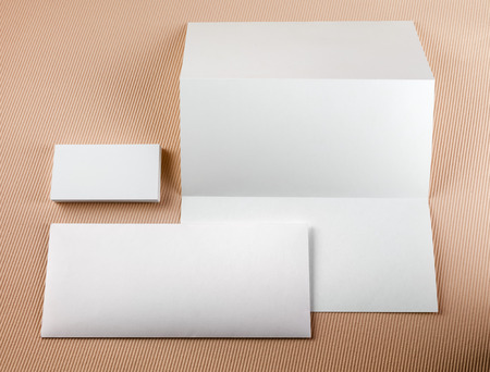 envelope: Blank stationery set on a color background. Template for branding identity.