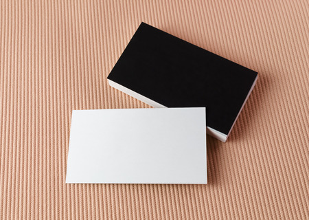 Blank black and white business cards. Template for branding identity. Top view. Standard-Bild