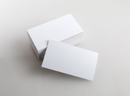 note card: Photo of business cards. Template for branding identity.  Isolated with clipping path.