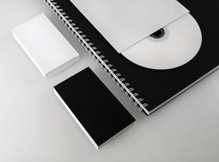 for designers: Business cards, compact disc and notepad. Template for branding identity for designers. Shallow depth of field.